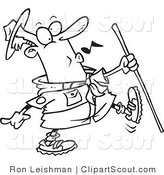 Clipart of a Black and White Outline of a Whistling Scout Master by Toonaday