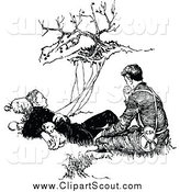Clipart of a Black and White Pupy and Two Men Resting by a Cliff by Prawny Vintage