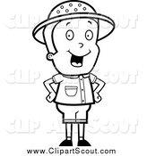 Clipart of a Black and White Safari Boy Standing with His Hands on His Hips by Cory Thoman