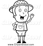 Clipart of a Black and White Safari Boy Waving by Cory Thoman