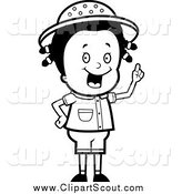 Clipart of a Black and White Safari Girl Holding up Her Finger and Expressing an Idea by Cory Thoman