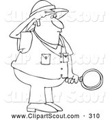 Clipart of a Black and White Safari Man Holding a Magnifying Glass by Djart