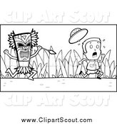 Clipart of a Black and White Scared Scout Boy Kid Running from a Tribal Man with a Spear by Cory Thoman