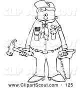 Clipart of a Black and White Scout Boy Holding Tools by Djart
