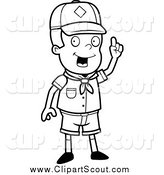 Clipart of a Black and White Smart Cub Scout Boy with an Idea by Cory Thoman