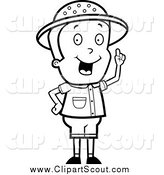 Clipart of a Black and White Smart Safari Boy Holding up a Finger and Expressing an Idea by Cory Thoman