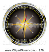 Clipart of a Black Compass with a Yellow Star on White by Michaeltravers