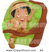 Clipart of a Black Scout Boy Climbing a Tree by BNP Design Studio