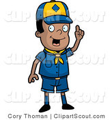 Clipart of a Black Scout Boy with an Idea Holding up a Finger by Cory Thoman