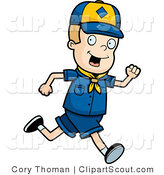 Clipart of a Blond Cub Scout Boy Running by Cory Thoman