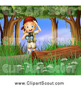Clipart of a Blond Excited Scout Explorer Girl with Binoculars in the Woods by Colematt