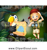 Clipart of a Blond Explorer Girl and Toucan with a Treasure Map by Colematt
