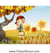 Clipart of a Blond Explorer Girl Holding Binoculars by Sunflowers by Graphics RF