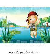 Clipart of a Blond Explorer Girl Wading in Water and Holding Binoculars by Graphics RF