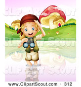 Clipart of a Blond Explorer Girl Wading in Water by Mushrooms by Graphics RF