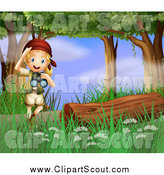 Clipart of a Blond Explorer Girl with Binoculars in the Woods by Colematt