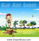 Clipart of a Blond Explorer Girl with Binoculars, Standing on a Stump by Graphics RF