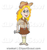 Clipart of a Blond Girl Scout in Brown Uniform by Visekart