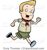 Clipart of a Blond Scout Boy Running by Cory Thoman
