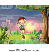 Clipart of a Blond Scout Explorer Girl Watching Butterflies at Sunset by Graphics RF