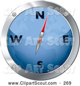 Clipart of a Blue and Chrome Map Compass on White by Michaeltravers