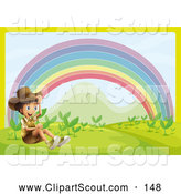 Clipart of a Boy Explorer Sitting near a Rainbow by Graphics RF