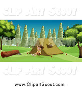 Clipart of a Boy Explorer Smiling and Sitting by a Tent by Graphics RF