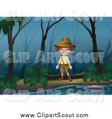 Clipart of a Boy Exploring in a Swamp by Graphics RF