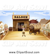Clipart of a Boy in a Ghost Town by Graphics RF