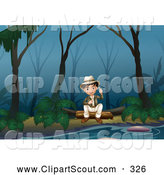 Clipart of a Boy Sitting in a Swamp by Graphics RF