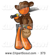 Clipart of a Brave Orange Explorer Man Carrying a Machete by Leo Blanchette