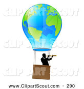 Clipart of a Businessman Viewing Through a Spyglass in a Travelling Hot Air Balloon by AtStockIllustration