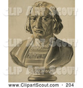Clipart of a Bust Statue of Christopher Columbus - Artwork by JVPD