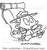 Clipart of a Cartoon Black and White Outline Design Coloring Page of a Boy Scout Running with a Big Back Pack by Toonaday