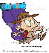 Clipart of a Cartoon Boy Scout Running with a Big Pack on His Back by Toonaday