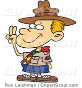 Clipart of a Cartoon Boy Scout Taking an Oath and Holding up His Fingers by Toonaday