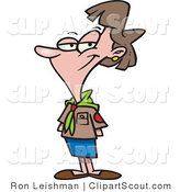 Clipart of a Cartoon Female Scout Leader, Smiling by Ron Leishman