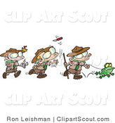 Clipart of a Cartoon Group of Boy Scouts Playing Outdoors by Toonaday