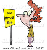 Clipart of a Cartoon Red Haired Caucasian Woman Staring at a Sign with Sample Text by Ron Leishman