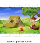 Clipart of a Cheerful Explorer Boy Sitting on a Log by a Camp Fire and Tent by Graphics RF