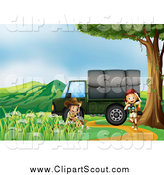 Clipart of a Children Exploring near a Cargo Truck 2 and Mountains by Graphics RF