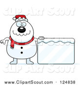 Clipart of a Christmas Snowman with a Frozen Sign by Cory Thoman