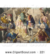 Clipart of a Christopher Columbus Being Greeted by King Ferdinand and Queen I - Artwork by JVPD