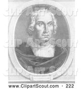 Clipart of a Christophorus Columbus, Black and White Version - Artwork by JVPD