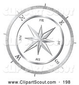 Clipart of a Chrome Compass Rose on White by MilsiArt