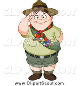 Clipart of a Chubby Scout Boy Saluting by Yayayoyo