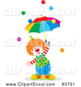 Clipart of a Clown with an Umbrella and Balls by Alex Bannykh