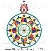 Clipart of a Colorful Ornate Compass Rose over White by Pauloribau
