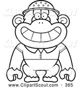 November 3rd, 2013: Clipart of a Coloring Page Black and White Chimpanzee Explorer by Cory Thoman