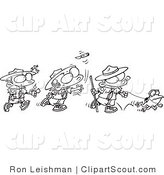 Clipart of a Coloring Page Design of a Group of Boy Scouts Outdoors by Toonaday
